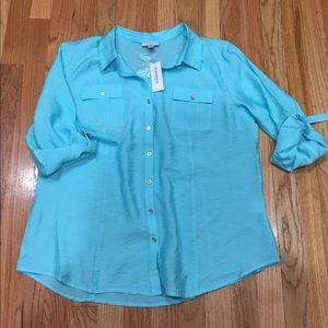 Light blue button down blouse